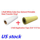US 236X5 Yard White Eco Solvent Printable Heat Transfer Vinyl+Application Tape