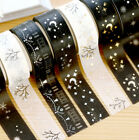 2pcs Christmas Set Foil Printing Japanese Washi Paper Tape 15mmX5m Gold Silver