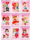 9 Valentine Vintage Retro Girls Hang Tags ATC Scrapbooking Paper Crafts 208