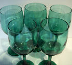 VINTAGE RETRO LIBBEY GREEN WINE GLASSES STEMWARE~SET OF 5
