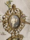 Antique Victorian Picture Frame Gold Gilt Brass Oval Decorative Ornate Heavy 11
