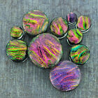 Pink Purple and Green Dichroic Swirls Double Flare Glass Plugs Ear Gauges