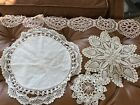 Lot of Vintage Crochet Doilies Hand Tatted Trim Ivory Ecru Delicate Victorian
