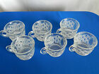 Buttons Clear Glass Punch Bowl Cups (6) Lot B