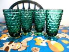 4 TEAL FOSTORIA WHITE HALL COLONY ICE TEA WATER CUBE CUBIST TUMBLERS