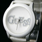 New GUESS Women's Watch Quilty Ivory Leather Patent U10655L1 Logo Montre NwT Uhr