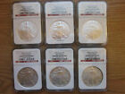 6 pcs Silver American Eagle 2006 NGC Gem Uncirculated First Strikes