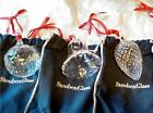 STEUBEN Glass CHRISTMAS ORNAMENTS GIFT SET Holiday Bell Pine Cone Peace on Earth