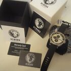 Versus By Versace Globe Multi-function White and Black Dial Black Rubber Mens