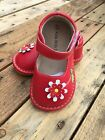 New Girls Toddler Squeaky Shoes Red with Daisy size 6