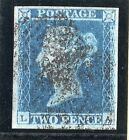 QV 1841 sg14 2d blue from plate 4  L A