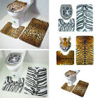 3Pcs/Set Animal Print Non-slip Bath Mat Toilet Rug Bathroom Supplies Multi-Color