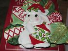 MIB Fitz and Floyd Canope Plate Red White Green Ornaments Christmas Bunny Blooms
