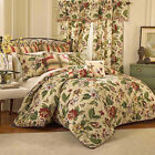 WAVERLY Laurel Springs Parchment Red Green Floral  Queen Comforter Set