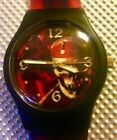Disney Pirates of the Caribbean Watch Skull Dial  Matching Silicone Band NICE