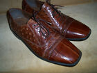 Stacy Adams Faux Ostrich and Croc Pattern 95M Brown Leather Oxford Mens Shoes