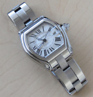 SS LARGE CARTIER ROADSTER SILVER DIAL AUTOMATIC WATCH #W62025V3 +Box/Paper/Strap