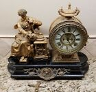 Ansonia figural clock of Isaac Newtonearly 20th c Open escapement antique clock