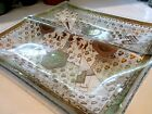 Mid-Century ROJACK Medieval Glass SERVING DEEP Divided DISH Centerpiece Tray