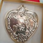 1998 Wallace Sterling Silver Detailed Heart Nativity Christmas Holiday Ornament