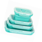 4 Pack Collapsible Food Storage Containers Silicone Bento Lunch Box Reusable