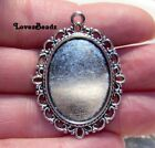 10 Silver Oval Frame Pendants Bezels Settings Fits 18x25mm Cabochon Picture