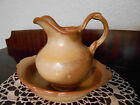 Frankoma Pitcher & Basin Bowl Gracetone Copper Tan Brown Pottery