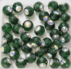 TWO Vintage Faceted Plastic Swarovski Crystal Beads Green 11mm Round