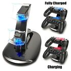 Led Dual Controller Charger Dock Station Stand Charging For PS4 Playstation W0