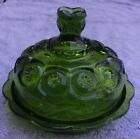 LE SMITH MOON AND STAR FOREST GREEN COVERED BUTTER DISH