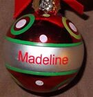 Ganz Joyous Noel Christmas Ornament Ball Personalized Red Silver Choose Name JB