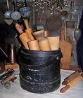 Primitive Antique Painted Firkin Sugar Bucket Shaker handle Wood bands canted
