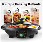 Electric Grill Pan BBQ Multifunctional 1600W Hot Pot Kitchen Tools Home Cooking