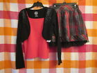 3 Piece Lot Girls Size 10 12 Holiday Outfit Cami Shrug  Skirt