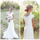 White Iovry Wedding Dresses Bridal Gowns Vintage Lace Applique Modest Cap Sleeve