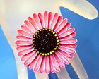 Vintage 1960s Era Round Pink Layered Enamel Daisy Flower Brooch w Black Center