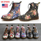 US Womens Ladies Floral Low Heel Ankle Boots Lace Up High Top Retro Casual Shoes