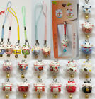 Mini Porcelain Maneki Neko Lucky Cat Cell Phone Charm Strap with Bell JBL s