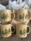 (4) Fiesta Dinnerware Christmas Java Mugs 12 oz Ivory Three Trees Trio NEW
