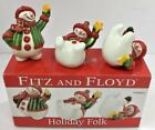 2009 Fitz and Floyd Porcelain Holiday Folk 3 Snowmen Tumblers with Original Box
