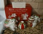 3 Piece Fitz & Floyd Christmas Bunny Bloom Taper Candle holders