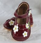 New Girls Toddler Squeaky Shoes Burgundy Patent with Flowers size 8