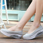 Gray Color Women Slip On Mesh Sneakers Wedge Platform Gym Pumps Sport Shoes Size