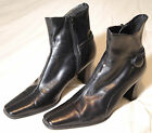 Womens Black Ankle Boots with 2 straps button Inside Zipper 3 in heel sz 9M