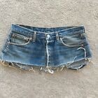 Levis 501 Ultra Mini Denim Skirt Customise Micro Short Vintage 8 10 Jeans Sexy