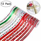Christmas Grosgrain Satin Fabric Ribbon Set Gift Wrapping Hair Bows Baby Shower