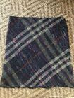 Authentic BURBERRY Fringe Multicolor Nova Check Lined 100 Wool Skirt Size 14