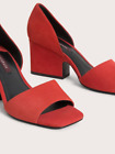 NEW UTERQUE SUEDE RED OPEN TOE SHOE SANDAL SLIP ON SIZE 38 EUR OR 7 USA