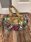 Coach Ashley Purple Green Gold Floral Handbag