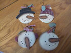 4 Wooden PRIM Snowman Christmas Ornaments/Gift Tags/HangTags/ORNIES